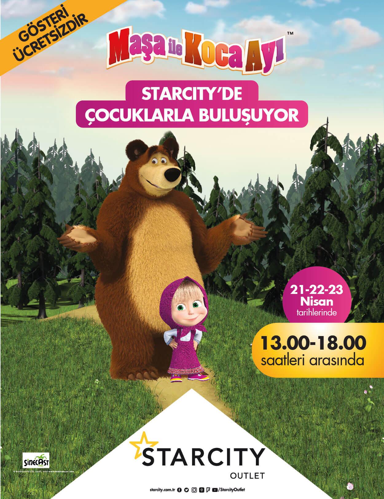 Maşa ile Koca Ayı Starcity'de Çocuklarla Buluşuyor !